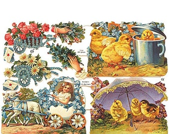 Germany Paper Scraps Lithographed Die Cuts Victorian Easter Scenes  7094