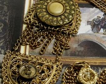 Personalized M Initial  Monogram Flapper Assemblage NECKLACE Antique Victorian Celluloid BUTTONS Etruscan Rev Filigree Pendants Multi Chain