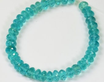 "Neon Blue Apatite Faceted Rondelle Beads 6.5"" STRAND"