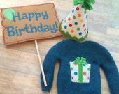 Christmas elf sized birthday set sweater, sign and hat