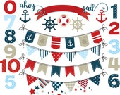 Nautical bunting clip art bunting banners flags clipart numbers for digital scrapbooking decorative ship navy red blue sailor pirate anchor