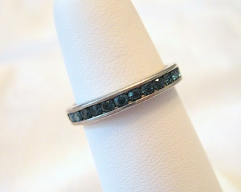 Vintage Eternity Band Sterling Silver Rhinestone Montana Blue Size 6