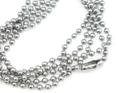 "30"" Ball Chain Stainless Steel Dark Matte Antique Silver Necklace Chain - 2.4mm Ball Bead Chain by TierraCast"