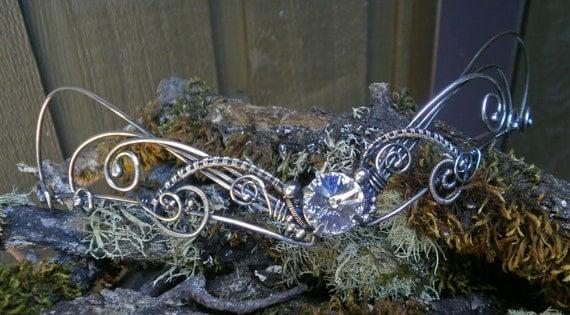 Solid Sterling Silver Elfin Bridal Crown with Swarovski Crystal