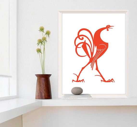 large print rooster decor farmhouse chic kitchen wall