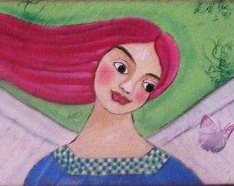 Original Angel Painting Inspirational Rustic, Farm House Folk Art by the artist