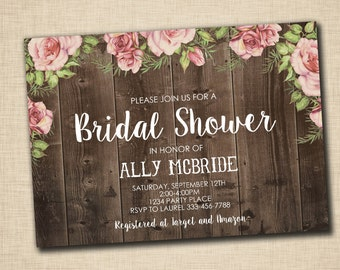 Shabby Rustic Bridal Shower Invitations - Roses and Wood Chic - print yourself