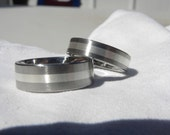 Titanium Ring SET with 2mm Silver Inlay Wedding Bands