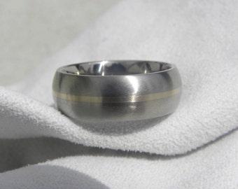 Titanium White Gold Ring or Wedding Band, Domed Profile