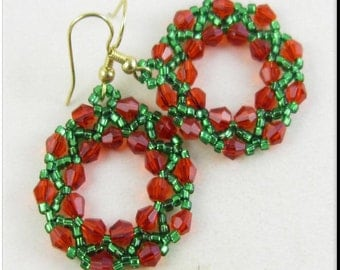 Hoop Earrings Christmas Holidays Red and Green Seed Bead Beadwork