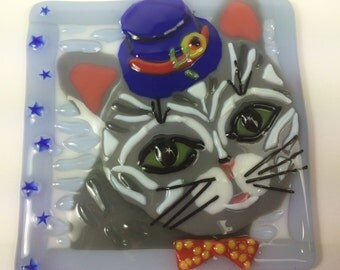 Tabby Cat in a Top Hat fused glass wall decor