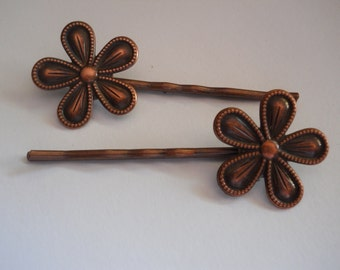 Copper Metal Flowers on Dark Copper Bobby Pins Flower Hair Pins Floral Hair Clips Textured Metal Everyday Hair Accessory