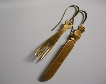 Foodie Earrings Solid Brass Knife and Fork Chef Cook Jewelry Kitchen Baking Sous Chef Gift Fun Kitsch Vintage 1970's Charms