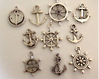 10 - Nautical Charms - Ship's Wheel and Anchors - SC62#NE