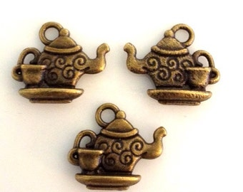 10 Detailed Teapot & Tea Cup charms - 2 Sided - Antique Bronze - BC15#GY