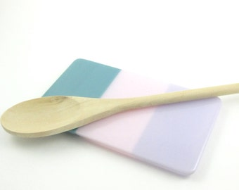 Lavender, Pink and Blue Glass Spoon Rest - Colorful Fused Glass Spoon Rest - Glass Butter Dish