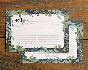 Herb Border Recipe Cards Set of 50