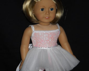 Tutu Dance Outfit White and Pink 18 inch Doll Handmade