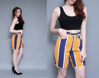 Vintage 90s Hip Hop Color Block High Waist Shorts - 26 inch waist