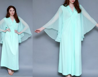 Vintage 70s Light Aqua Blue Maxi Boho Dress // BOHEMIAN Sheer Bell Sleeves psychedelic HIPPIE Dress - Size S M L