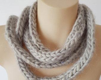 Knit long gray scarf, chunky knit grey tassel scarf