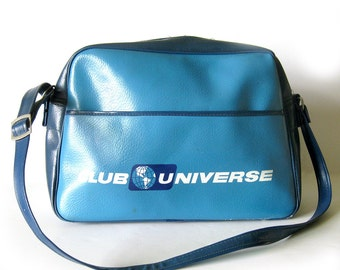 1960s Vintage Flight Bag Travel Bag / Club Universe Unitours Blue Two-Tone Messenger Bag / Gym Bag / Overnight Bag / Blue Bag / Wanderlust