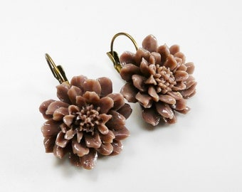 Taupe Flower Earrings Leverback Taupe Earrings Closed Clip Earring Dangles