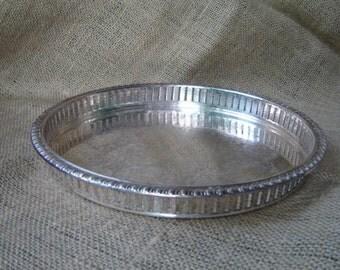Vintage Silver Plate Pierced Gallery Tray F B Rogers Silver Company 1970s Silver Plate Tray