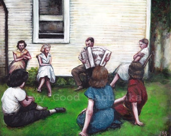 Concert on the Grass, Original Painting, Accordion, Music, Musicians, 1950s, 1940s, Backyard, Party, White House, Women, Group Portrait