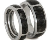 His And Hers Wedding Band Set, Titanium Rings With Dinosaur Bone Inlays, Unique Matching Ring Set
