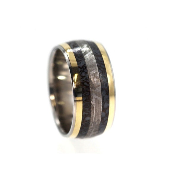 dinosaur bone ring with meteorite and 14k gold by