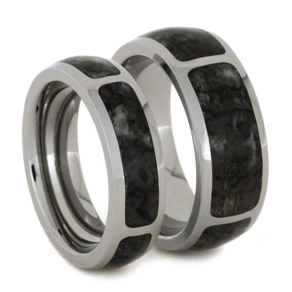 his and hers dinosaur bone wedding band set by jewelrybyjohan. Black Bedroom Furniture Sets. Home Design Ideas
