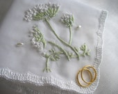 Queen Anne's Lace Silk Ribbon Embroidery Wedding Handkerchief Memento Mother Of The Bride Groom Featured At Martha Stewart Wedding Party