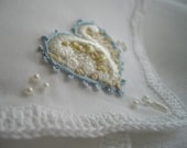 Victorian Inspired Wedding Memento Handkerchief Bouquet Wrap Hand Embroidered Silk Ribbon Crocheted Pearl Accents Handmade handcraftusa