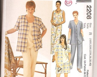 McCall's 2208 Plus Shirt Pants Shorts Top Dress Sewing Pattern Size 18w 20w 22w 36 38 40 UNCUT
