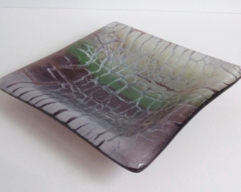 Fused Glass Dish in Orchid, Plum, Celadon and Artichoke Green