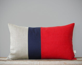 Color Block Stripe Pillow in Poppy Red, Navy and Natural Linen (12x20) by JillianReneDecor - Modern Home Decor - Decorative Pillow