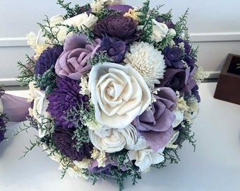Purple, eggplant and lavender Wedding Bouquet - sola flowers - Customize colors  - Alternative bridal bouquet - bridesmaids bouquet