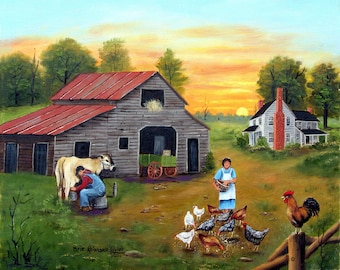 Folk Art Landscape Country Scene Home Decor Print Milking Cow Barn Early Morning Hens Red Rooster White House Chickens by Arie Reinha Taylor
