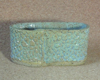 Free Shipping! Stony business card holder, speckled clay with frosty blue glaze