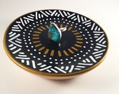Black, white & Gold Patterned Jewelry Holder-Made to Order- Ring Holder- Engagement Jewelry Dish- Home Decor Bowl- Handmade Clay Ring Holder