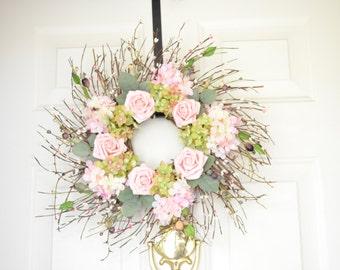 Pink Spring Wreath Front Door wreath grapevine wreath silk flower wreath
