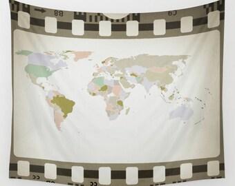 World Map Wall Tapestry, Map Large Size Wall Art, Modern Decor, Outdoor, Garden, Beach Hut Decor, Film Roll Tapestry, Retro Decor, Dorm Art