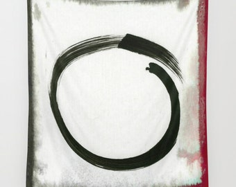Enso Tapestry, Zen Tapestry, Black Tapestry, Ink Painting Tapestry, Buddhism Large Wall Decor, Japanese Art Tapestry, Symbolism, Spirit Mind