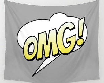 OMG Tapestry, Large Wall Decor, Grey Yellow Decor, Modern Wall Hanging, Dorm Privacy Screen, Contemporary Art, Teen Decor, Text Bubble Decor
