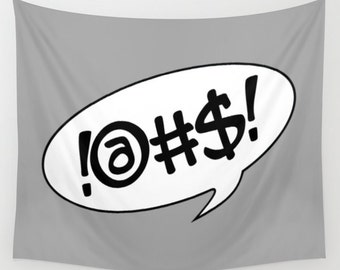 Text Bubble Tapestry, Large Wall Decor, Grey White Decor, Modern Wall Hanging, Dorm Privacy Screen, Contemporary Art, Teen Decor, Cool Decor