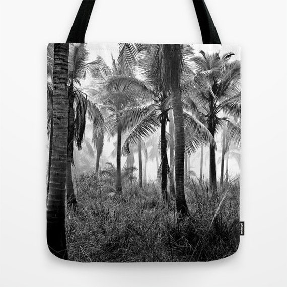 Palm Tree Tote Bag, Black White Bag, Tropical Woods, Beach Tote, Shopping Tote, Office Bag, Shoulder Bag,Market Tote, Wearable Art Bag, Grey