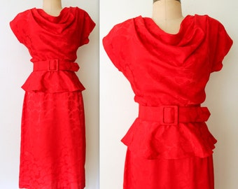 Floral Jacquard Dress / Red Draped Dress / Draped Floral DRess