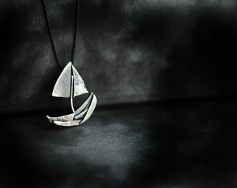 Sailboat Necklace, Moving Away Gift, Boat Nautical Pendant, Mens Unisex Jewelry