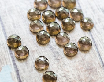 Faceted Smokey Quartz Cabochon - Round Gemstone - 8mm